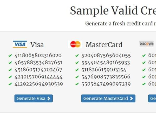 Генерация карты Visa